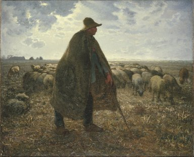 Jean-François Millet (French, 1814-1875). Shepherd Tending His Flock, early 1860s. Oil on canvas, 32 3/16 x 39 9/16 in. (81.8 x 100.5 cm). Brooklyn Museum, Bequest of William H. Herriman, 21.31
