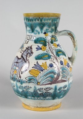 Pitcher with Scene Depicting a Figure Steering a Horse Drawn Plough, Habanware, ca. 1835. Tin glazed earthenware with overglaze painted decoration, 11 1/2 x 8 1/2 in. (29.0 x 21.5 cm). Brooklyn Museum, Museum Expedition 1921, Robert B. Woodward Memorial Fund, 21.443.24907. Creative Commons-BY