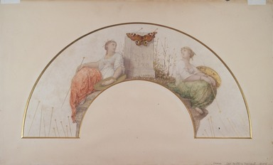 Jean-Louis Hamon (French, 1821-1874). Entomologist (Design for a Fan), 1872. Watercolor and graphite on parchment, 10 1/2 x 20 7/8 in.  (26.7 x 53.0 cm). Brooklyn Museum, Bequest of William H. Herriman, 21.445