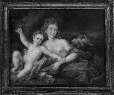 Miniature Venus and Cupid., Frame: 6 1/16 x 5 in. (15.4 x 12.7 cm). Brooklyn Museum, Bequest of William H. Herriman, 21.473