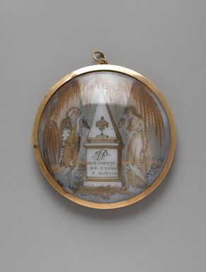Portrait of a Gentleman/Mourning Piece, ca. 1797. Watercolor on ivory or porcelain (?), framed in metal locket with glass lenses, Image (sight): 2 3/4 x 2 13/16 in. (7 x 7.1 cm). Brooklyn Museum, Bequest of Samuel E. Haslett, 21.476