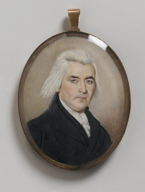 Portrait of a Gentleman/Mourning Miniature, late 18th century. Watercolor on ivory with human hair housed in metal locket with glass lenses, Recto (sight): 2 15/16 x 2 3/8 in. (7.5 x 6 cm). Brooklyn Museum, Bequest of Samuel E. Haslett, 21.478