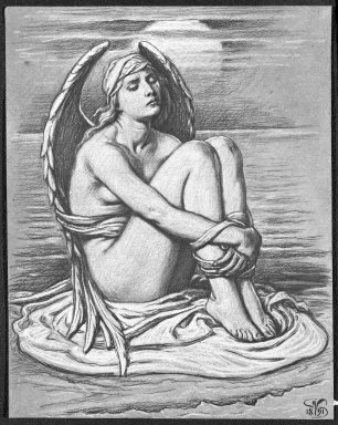 Elihu Vedder (American, 1836-1923). Bound Angel, 1891. White chalk and black Conté crayon on bluish-green, moderately thick, slightly textured wove paper, Sheet: 11 1/2 x 8 7/8 in. (29.2 x 22.5 cm). Brooklyn Museum, Bequest of William H. Herriman, 21.482