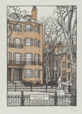 Rudolph Ruzicka (American, born Bohemia, 1883-1978). Louisburg Square, Boston, ca. 1917. Wood engraving, sheet: 10 1/16 x 7 1/2 in. (25.6 x 19 cm). Brooklyn Museum, Museum Collection Fund, 21.506