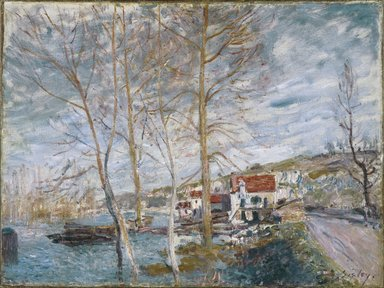 Alfred Sisley (British, active France, 1839-1899). Flood at Moret (Inondation à Moret), 1879. Oil on canvas, 21 1/4 x 28 1/4 in. (54 x 71.8cm). Brooklyn Museum, Bequest of A. Augustus Healy, 21.54