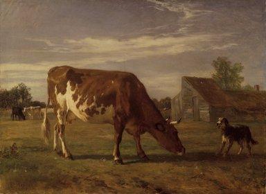 Constant Troyon (French, 1810-1865). Cow in an Enclosure; A Dog Barking at Her (Vache paissant dans un enclos; un chien aboie après elle), ca. 1852-1863. Oil on pre-primed canvas, 28 1/4 x 35 1/4 in. (71.8 x 89.5 cm). Brooklyn Museum, Bequest of William H. Herriman, 21.61