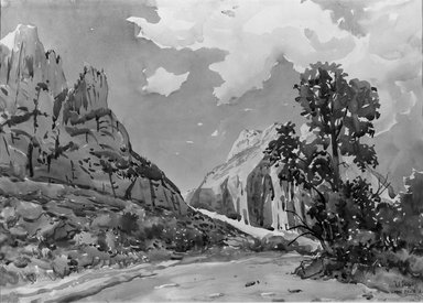 Herbert B. Tschudy (American, 1874-1946). The West Wall, Zion Canyon, 1921. Watercolor over pencil, 14 x 19 9/16 in. (35.6 x 49.7 cm). Brooklyn Museum, John B. Woodward Memorial Fund, 21.65