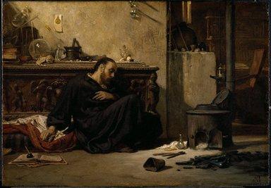 Elihu Vedder (American, 1836-1923). The Dead Alchemist, 1868. Oil on panel, 14 7/16 x 20 1/16 in. (36.6 x 51 cm). Brooklyn Museum, Bequest of William H. Herriman, 21.78
