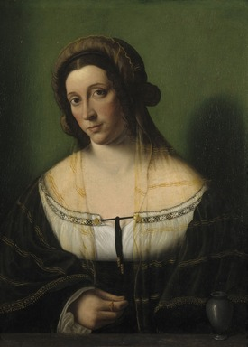 Bartolomeo Veneto (Italian, North Italian School, active 1502-1531). Portrait of a Lady as Mary Magdalen, 1520s. Oil on cradled panel, 22 5/8 x 17 5/8 in. (57.5 x 44.8 cm). Brooklyn Museum, Bequest of A. Augustus Healy, 21.79
