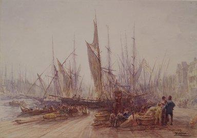 Félix François Georges Philibert Ziem (French, 1821-1911). Harbor in Marseilles, ca. 1864. Watercolor on heavy cream wove paper , Sheet: 8 7/8 x 12 1/2 in. (22.5 x 31.8 cm). Brooklyn Museum, Bequest of William H. Herriman, 21.87