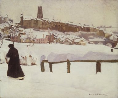 Hugues de Beaumont (French, 1874-1947). Freiburg in the Snow, ca. 1920. Oil on canvas, 21 1/4 x 25 5/8 in.  (54.0 x 65.1 cm). Brooklyn Museum, Gift of Otto H. Kahn through the Committee for the Diffusion of French Art, 21.91