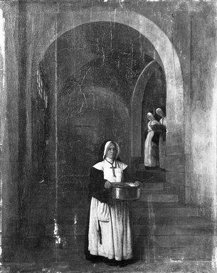 François Bonvin (French, 1817-1887). Nuns Going to Distribute Food (Religieuses allant distribuer des vivres, intérieur), 1866. Oil on panel, 20 1/2 x 16 3/8 in. (52.1 x 41.6 cm). Brooklyn Museum, Bequest of William H. Herriman, 21.96