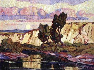 Sven Birger Sandzén (American, 1871-1954). Creek at Moonrise, 1921. Oil on canvas, 35 7/8 x 48 1/16 in. (91.1 x 122 cm). Brooklyn Museum, Gift of Dr. and Mrs. Henry Goddard Leach, 22.101