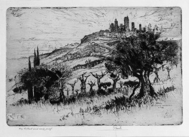 Joseph Pennell (American, 1860-1926). Towers of San Gimignano, 1883. Etching, plate: 8 9/16 x 12 5/8 in. (21.8 x 32 cm). Brooklyn Museum, 22.1052
