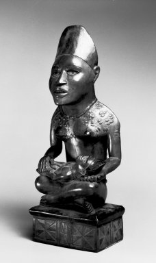 Kongo (Yombe subgroup). Figure of Mother and Child (Phemba), 19th century. Wood, applied materials, 12 1/2 x 4 1/2 x 3 3/4 in. (31.8 x 11.4 x 9.5 cm). Brooklyn Museum, Museum Expedition 1922, Robert B. Woodward Memorial Fund, 22.1136. Creative Commons-BY