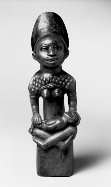 Kongo (Yombe subgroup). Figure of Mother and Child (Phemba), 19th century. Wood, 11 1/4 x 2 3/4 in. (30.0 x 7.0 cm). Brooklyn Museum, Museum Expedition 1922, Robert B. Woodward Memorial Fund, 22.1137. Creative Commons-BY