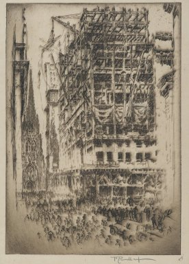 Joseph Pennell (American, 1860-1926). The New Stock Exchange, 1921. Etching, plate: 6 15/16 x 10 3/16 in. (17.7 x 25.8 cm). Brooklyn Museum, Museum Collection Fund, 22.1158