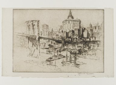 Joseph Pennell (American, 1860-1926). Municipal Building, 1921. Etching, plate: 6 15/16 x 9 15/16 in. (17.6 x 25.2 cm). Brooklyn Museum, Museum Collection Fund, 22.1167