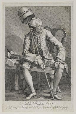 William Hogarth (British, 1697-1764). John Wilkes, Esq., 1763. Etching on laid paper, 13 7/8 x 9 1/8 in. (35.2 x 23.1 cm). Brooklyn Museum, Bequest of Samuel E. Haslett, 22.1178