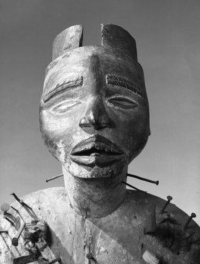 Kongo (Kakongo subgroup). Power Figure (Nkisi Nkondi), 19th century. Wood, iron, glass mirror, resin, pigment, 33 7/8 x 13 3/4 x 11 in. (86 x 34.9 x 27.9 cm). Brooklyn Museum, Museum Expedition 1922, Robert B. Woodward Memorial Fund, 22.1421. Creative Commons-BY