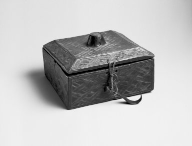 Kuba (Bushoong subgroup). Carved Paint Box with Cover, early 20th century. Wood, fiber, metal, 7 7/8 x 6 7/8 x 5in. (20 x 17.5 x 12.7cm). Brooklyn Museum, Brooklyn Museum Collection, 22.1490a-b. Creative Commons-BY