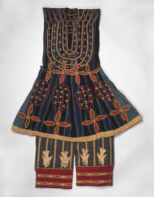 Fon. Robe (Kansawu) and Trousers, from 3 Piece Royal or Noble Costume, late 19th century. Cotton, silk, Tunic: 34 1/4 x 27 9/16 in. (87 x 70 cm). Brooklyn Museum, Museum Expedition 1922, Robert B. Woodward Memorial Fund, 22.1500a-b. Creative Commons-BY