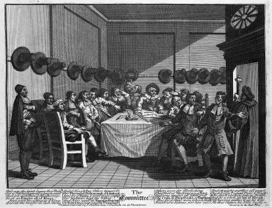 William Hogarth (British, 1697-1764). The Committee, 1726. Engraving on laid paper, 10 9/16 x 13 7/8 in. (26.9 x 35.2 cm). Brooklyn Museum, Bequest of Samuel E. Haslett, 22.1866