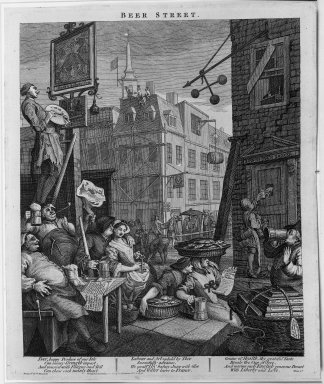 William Hogarth (British, 1697-1764). Beer Street, 1751. Engraving on laid paper, 15 3/16 x 8 7/8 in. (38.5 x 22.5 cm). Brooklyn Museum, Bequest of Samuel E. Haslett, 22.1867