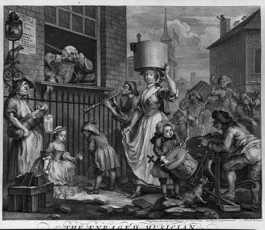 William Hogarth (British, 1697-1764). The Enraged Musician, 1741. Engraving on laid paper, 14 1/2 x 16 1/4 in. (36.9 x 41.2 cm). Brooklyn Museum, Bequest of Samuel E. Haslett, 22.1871