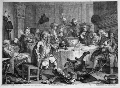 William Hogarth (British, 1697-1764). A Midnight Modern Conversation, 1733. Engraving on laid paper, 13 1/2 x 18 1/2 in. (34.3 x 47 cm). Brooklyn Museum, Bequest of Samuel E. Haslett, 22.1873