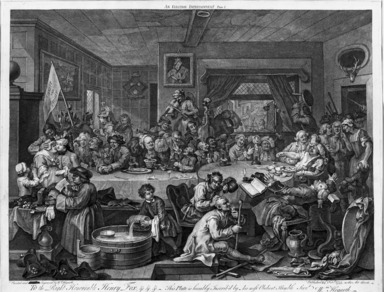 "William Hogarth (British, 1697-1764). An Election Entertainment from ""Four Prints of an Election,"" 1755. Engraving on laid paper, 17 1/8 x 21 15/16 in. (43.5 x 55.8 cm). Brooklyn Museum, Bequest of Samuel E. Haslett, 22.1875"