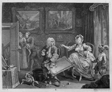 "William Hogarth (British, 1697-1764). Quarrels with Her Protector, from ""A Harlot's Progress,"" 1732. Engraving, 12 3/8 x 14 15/16 in. (31.4 x 38 cm). Brooklyn Museum, Bequest of Samuel E. Haslett, 22.1882"