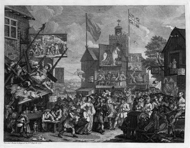 William Hogarth (British, 1697-1764). Southwark Fair, 1733. Engraving Brooklyn Museum, Bequest of Samuel E. Haslett, 22.1887