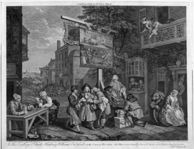 "Charles Grignion (English, 1717-1810). Canvassing for Votes, from ""Four Prints of an Election,"" 1757. Engraving Brooklyn Museum, Bequest of Samuel E. Haslett, 22.1890"