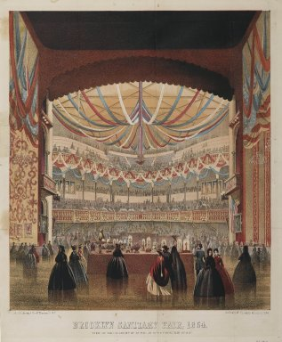 Brooklyn Sanitary Fair, 1864. Lithograph on wove paper, image: 16 1/8 x 14 in. (40.9 x 35.5 cm). Brooklyn Museum, Bequest of Samuel E. Haslett, 22.1912