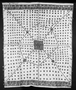 Table Cloth, embroidered. Cotton Brooklyn Museum, Museum Expedition 1922, Robert B. Woodward Memorial Fund, 22.1955.5. Creative Commons-BY
