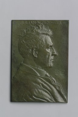 John Flanagan (American, 1865-1952). Portrait Plaque of Julian Alden Weir, 1918. Bronze, 5 1/4 x 3 5/8 x 3/16 in. (13.3 x 9.2 x 0.5 cm). Brooklyn Museum, Robert B. Woodward Memorial Fund, 22.1958.4. Creative Commons-BY