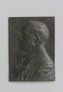 John Flanagan (American, 1865-1952). Portrait Plaque of Childe Hassam, 1909. Bronze, 5 1/2 x 3 15/16 x 5/16 in. (14 x 10 x 0.8 cm). Brooklyn Museum, Robert B. Woodward Memorial Fund, 22.1958.5. Creative Commons-BY