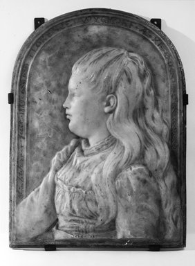 Olin Levi Warner (American, 1844-1896). Florence Wyckoff, 1889. Marble with gilding, 18 x 13 x 1 1/2 in. (45.7 x 33 x 3.8 cm). Brooklyn Museum, Gift of Mrs. Arthur Whitney, 22.1968. Creative Commons-BY