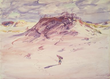 Dodge MacKnight (American, 1860-1950). Sand Dunes, Cape Cod, before 1921. Transparent watercolor with touches of opaque watercolor over graphite on white, moderately thick, rough-textured wove paper, 17 1/4 x 24 1/16 in. (43.8 x 61.1 cm). Brooklyn Museum, Frank Sherman Benson Fund and Frederick Loeser Fund, 22.57