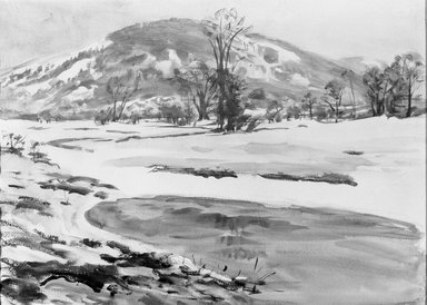 Dodge MacKnight (American, 1860-1950). The Thaw. Watercolor Brooklyn Museum, Frank Sherman Benson Fund and Frederick Loeser Fund, 22.58