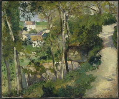 Camille Jacob Pissarro (French, born Danish West Indies, 1830-1903). The Climb, Rue de la Côte-du-Jalet, Pontoise (Chemin montant, rue de la Côte-du-Jalet, Pontoise), 1875. Oil on canvas, 21 1/4 x 25 7/8 in. (54 x 65.7 cm). Brooklyn Museum, Purchased with funds given by Dikran G. Kelekian, 22.60