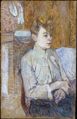 Henri de Toulouse-Lautrec (French, 1864-1901). Woman Smoking a Cigarette, 1890. Graphite pencil or charcoal, watercolor and oil on commercial paper board, 18 1/2 x 11 3/4 in.  (47 x 29.8 cm). Brooklyn Museum, Museum Surplus Fund and purchased with funds given by Dikran G. Kelekian, 22.67