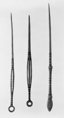 Mangbetu. Hairpin, late 19th or early 20th century. Ivory, pigment, 7 11/16 x 1/2 in. (19.5 x 1.3 cm). Brooklyn Museum, Museum Expedition 1922, Robert B. Woodward Memorial Fund, 22.749. Creative Commons-BY