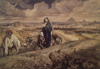 Alexandre-Gabriel Decamps (French, 1803-1860). The Flight into Egypt (Fuite en Égypte), 1850-1860. Watercolor on wove paper mounted on paperboard, 11 13/16 x 16 1/2 in. (30 x 41.9 cm). Brooklyn Museum, Gift of Frank L. Babbott, 22.86