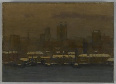 Hamilton Easter Field (American, 1873-1922). River Front, New York, in Winter, ca. 1912. Oil on canvas, 12 13/16 x 17 15/16 in. (32.5 x 45.6 cm). Brooklyn Museum, Gift of Robert Laurent, 22.89