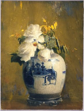 Anna S. Fisher (American, 1873-1942). The White Roses, before 1922. Opaque watercolor, graphite, touches of pastel, and touches of transparent watercolor on cream, moderately thick, slightly textured wove paper mounted to wood pulp paperboard, 24 15/16 x 19 in. (63.3 x 48.3 cm). Brooklyn Museum, Gift of Frank L. Babbott, 22.90