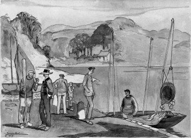 Emmanuel Charles Jodelet (French, 1883-1969). Fishermen of Bretagne, 1919. Watercolor, 16 3/8 x 20 7/8 in.  (41.6 x 53.0 cm). Brooklyn Museum, Gift of Edward C. Blum, 23.103