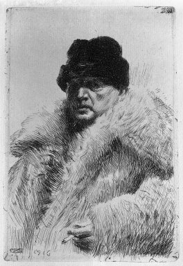 Anders Zorn (Swedish, 1860-1920). Self Portrait, 1916. Etching on laid paper Brooklyn Museum, Gift of Edward C. Blum, 23.245