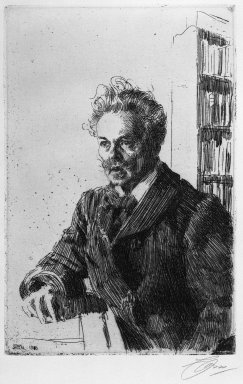 Anders Zorn (Swedish, 1860-1920). August Strindberg, 1910. Etching on laid paper, 11 3/4 x 7 11/16 in. (29.8 x 19.6 cm). Brooklyn Museum, Gift of Edward C. Blum, 23.249